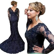 wholesale 2017 navy blue evening dress mermaid long sleeve prom