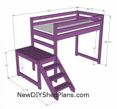 plans to build a loft bed with slide woodworking sketch online