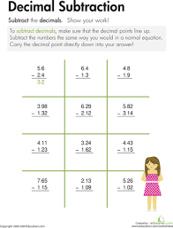subtracting decimals worksheet 5th grade free worksheets library