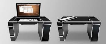 modern black computer desk macpro andapple 24 cinema display mounted to flipit computer desk