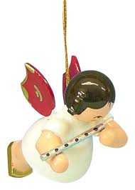 tree ornament angel with flute red wings floating 5 5 cm 2