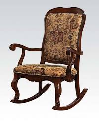 cherry wood fabric rocking chair by acme