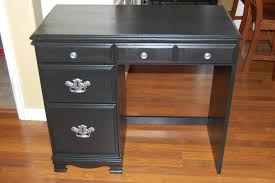 Black Corner Desk With Drawers Small Black Painted Solid Wood Desk With Three Drawers Using