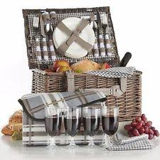 picnic basket set for 4 wicker picnic basket ebay