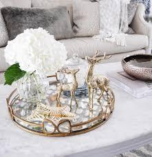 coffee table styling tray styling mirror tray hydrangeas