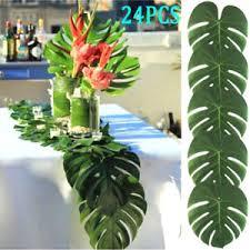 24PCS Tropical Hawaiian Green Leaves Luau Moana Party Table