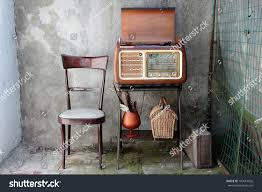 vintage radio receiver cabinet shabby home stock photo 103614026