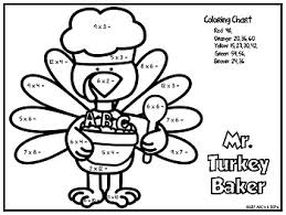 thanksgiving color by number multiplication by abcs and ieps tpt