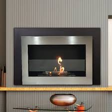 luxury stainless steel ventless fireplace wall mount with bio