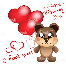 s day teddy s day teddy with balloons greetings card stock