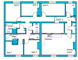 Floor Plan Flat by Flat 2 72 Pennsylvania Road Exeter Student Accommodation