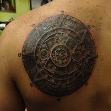 fabulous aztec calendar tattoo design on back in 2017 real photo