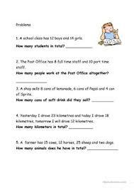 11 free esl word problems worksheets