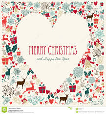 vintage merry christmas love heart card royalty free stock