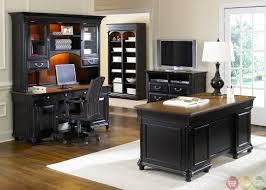 Home Office Furniture Desk Paneled Wood Desk Home Office Furniture Set In Medium Walnut