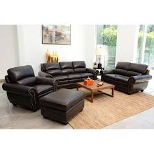 Leather Living Room Set Kingsbury 4 Piece Top Grain Leather Living Room Set