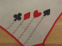 card game table cloth vintage card table tablecloth with suits embroidered in by kchoos