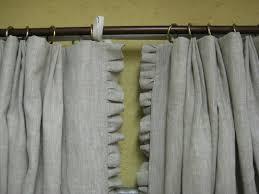 pair of single width ruffled linen drapery panels pleated panels