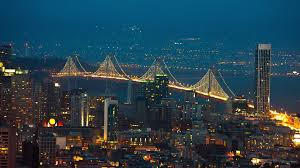 Bay Bridge Lights Bridges Wide View San Francisco Bay Bridge Night Bridges