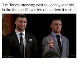 Johnny Football Meme - tim tebow standing next to johnny manziel is like the real life