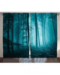 Dark Teal Curtain Panels Forest Curtain Mysterious Woods Foggy Print 2 Panel Window Drapes