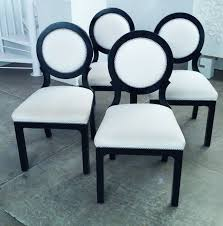 Black Lacquer Dining Room Chairs Set Of Four Hollywood Regency Black And White Circle Back Dining