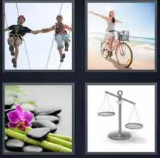 4 pics 1 word couple walking riding bicycle nature scale