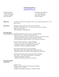 Elementary Education Resume Sample by 100 Professional Education Resume Examples 100 College