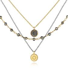 great necklace gunmetal and gold pyrite celestial strand necklace great