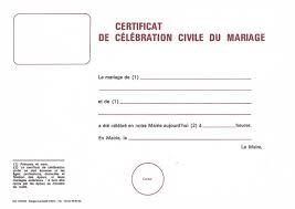 documents mariage certificat de célébration civile du mariage publication du