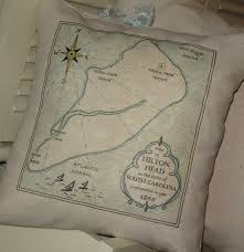 hilton head vintage map pillow blue pillows nautical south