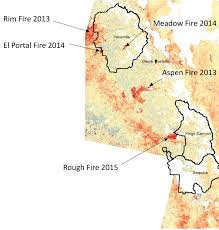 Map Of Yosemite Decades Of Foothill Forest Growth In Sierra Nevada Mountains