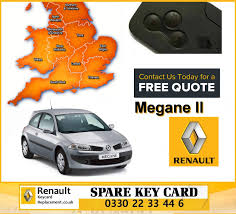 renault megane 2004 replacement 3 button remote key card for renault megane