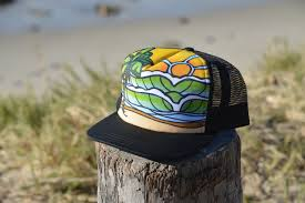 surf trucker hat with waves palm trees hawaii style made in