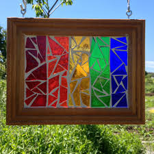 rainbow stained glass mosaic rainbow suncatcher multi colored