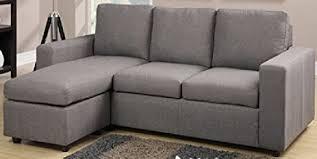 amazon com modern grey linen like fabric reversible sectional