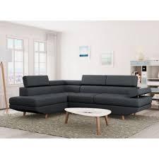 canape d angle gauche 330 sur canapé d angle style scandinave 4 places tissu gris foncé