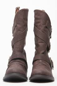 s boots calf length brown faux leather buckle up calf length boots cicihot boots