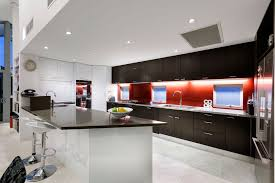 Kitchen Style Combination Of Black White Red Colours In Modern