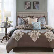 Beige Comforter Beautiful 7pc Modern Elegant Brown Blue Aqua Ivory Beige Comforter