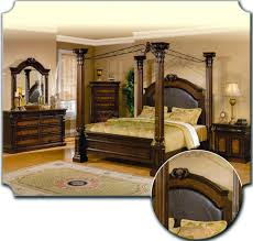King Bedroom Set With Storage Headboard Poster Bedroom Furniture Set With Leather Headboard U0026 Metal Canopy 103