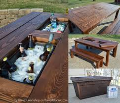 Plans To Build Wood Patio Table by 13 Diy Cooler Table Plans To Build For Outdoor Beer Drinks Or