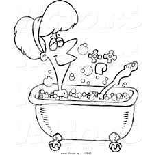 vector of a cartoon relaxed woman taking a bath coloring page