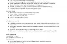 Sample Diesel Mechanic Resume by Auto Mechanic Resume Examples Mechanic Auto Mechanic Resume Yazhco