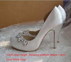 wedding shoes toe 2016 new style white satin bridal shoes toe high heel