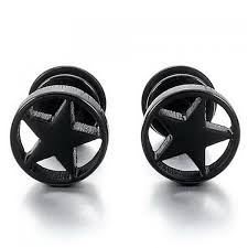 mens earrings pair of style pentagram earrings for men in black
