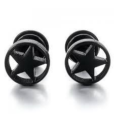 mens black earrings pair of style pentagram earrings for men in black