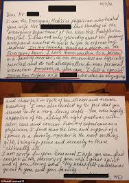 man receives touching letter from emergency room doctor in the