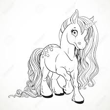 cute fabulous unicorn with lush mane outlined for coloring book