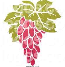 royalty free vector of a purple grapes and leaves winery logo by